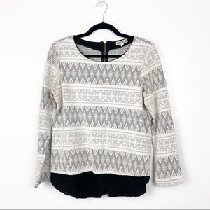 Pleione Nordstrom   B/W Patterned Tunic Sweater